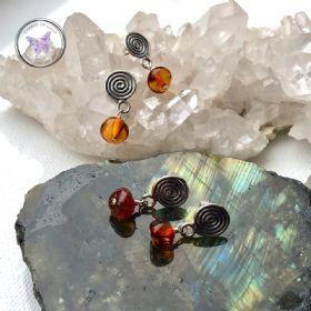 Dark Baltic Amber Silver Drop Earrings